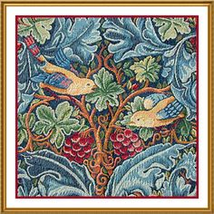 Acanthus Vine with Birds by Arts and Crafts Movement Founder William Morris Counted Cross Stitch or Counted Needlepoint Pattern - Counted Cross Stitch
