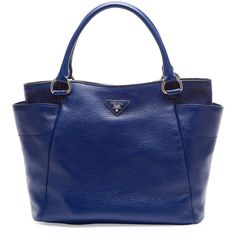 Prada Daino Side-Pocket Tote Bag (5.580 BRL) ❤ liked on Polyvore featuring bags, handbags, tote bags, navy, leather purse, prada tote, leather tote, leather tote bags and navy blue tote