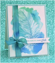 White embossed image WC'd with watercolored with Twinkling H2Os
