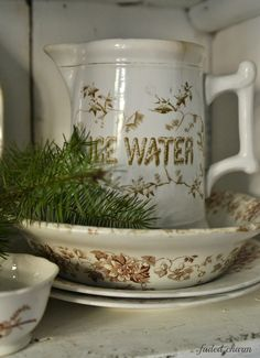 Faded Charm: ~Primitive Cupboard & Pinecones~ Ice Water Pitcher ~ the search is on!