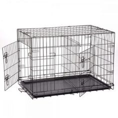 Dog Crate Kennel Pet Cage for Large Medium Dogs Travel Metal Double-Door Folding Indoor Outdoor Puppy Playpen with Divider and Handle Plastic 42 36 30 24 inches – large dog kennel Extra Large Dog Kennel, Extra Large Dog Crate, Large Dogs, Small Dogs, Dog Cages, Pet Cage, Xxxl Dog Crate, Dog Travel Crate, Travel Tray
