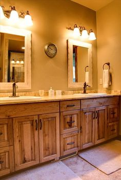 rustic hickory bathroom vanity | Cabinets: Rustic hickory appears ...