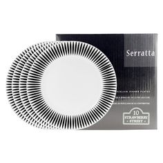 10 Strawberry Street Serratta Dinner Plate Set of 4 - 10.5 in. by 10 Strawberry Street. $22.99. Each measures 10.5 diam. inches. Dishwasher- and microwave-safe. Crafted from strong and durable porcelain. 4 plates with a bold and stunning design. Timeless white finish. Bold and stunning, the 10 Strawberry Street Serratta Dinner Plate Set of 4 - 10.5 in features a beautiful pattern in black on a snow white backdrop. Designed to be noticed, these gorgeous plates are perfec...