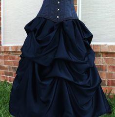 Elegant Belle Steampunk Gothic Bustle Skirt Black