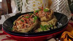 Turkey stuffed portobello mushrooms with couscous