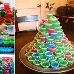 Christmas Cocktail recipes - Impress your guests - and yourself - with these delicious Christmas cocktails! Easy drink recipes are perfect for any Christmas party. Christmas Jello Shots, Christmas Tree Food, Christmas Cocktails, Holiday Drinks, Party Drinks, Christmas Treats, Holiday Treats, Holiday Recipes, Christmas Games