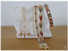 Bracelets perles bordeaux-gris par Mon petit bazar