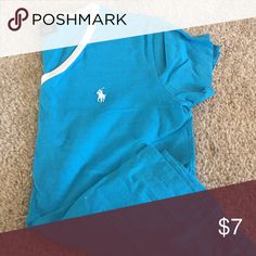 Bright blue polo T-shirt Bright blue polo T-shirt with white logo and collar Polo by Ralph Lauren Tops Tees - Short Sleeve