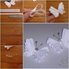 Make a butterfly from beads, wire and ribbon.  Nice project for all that tacky satin ribbon that I would never use otherwise.