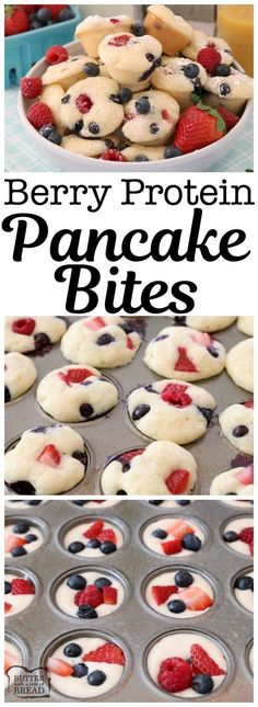 Berry Protein Pancake Bites made easy by baking protein pancake batter in the ov. Berry Protein Pancake Bites made easy by baking protein pancake batter in the oven with fresh blueberries, raspberries and strawberries. Dust w. Baby Food Recipes, Dessert Recipes, Cooking Recipes, Baking Desserts, Healthy Kid Recipes, Easy Recipes For Kids, Healthy Food, Healthy Sugar, Cheesecake Recipes
