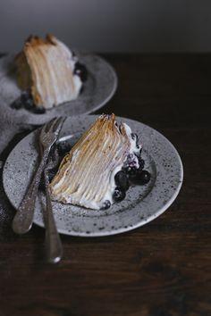 Crepe Cake with Mascarpone Cream and Blue Berries by Tanya Balyanitsa Tart Recipes, Sweet Recipes, Dessert Recipes, Just Desserts, Delicious Desserts, Yummy Food, Cupcakes, Cupcake Cakes, Crepe Cake