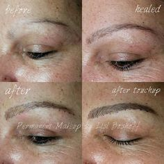 Microblade eyebrow tattoo - by #lislboshoff #powderpuffmakeup Before and directly after - colour will soften when healed. 082 466 2429/ hello@powderpuffm... #microblading #strand #capetown #durbanville #skinandbodyboutique #permanentmakeup #training #microstroke #natural #hairstroke #eyebrowtattoo