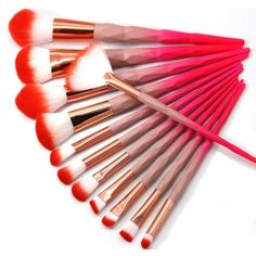 Rainbow Red Diamond Einhorn Make-up Pinsel Set 12 tlg. – – – Rainbow Red Diamond Einhorn Make-up Pinsel Set 12 tlg. Make Makeup, Red Makeup, Makeup Geek, Makeup Tools, Cheap Makeup, Makeup Brush Cleaner, Makeup Brush Holders, Makeup Brush Set, Unicorn Makeup Brushes Set