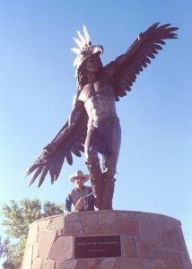 Spirit of the Thunderbird (monument) Bronze sculpture eagle dancer at Casper College Casper Wyoming By Chris Navarro Navarro Gallery Tlaquepaque Grand Teton National Park, Yellowstone National Park, National Parks, Casper Wyoming, Installation Art, Art Installations, Native American Images, Old Faithful, Goddess Art