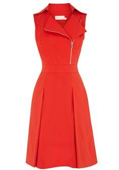 Red Ruffle Zipper Notch Lapel Wrap Polyester Dress