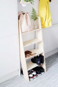 Ladder shelves are a great way to keep your shoes organised and together without taking up too much floor space if your place is on the smaller side!