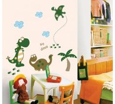 Green and Brown Dinosaurs wall sticker available at www.kidzdecor.co.za. Free postage throughout South Africa