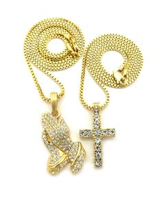 Iced Out Diamond Cz Prayer Hands Cross Pendant Set - Bling Jewelz