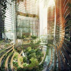 """Gustafson Porter e Ingenhoven divulgam projeto de edifício """"montanhoso"""" em Singapura"""
