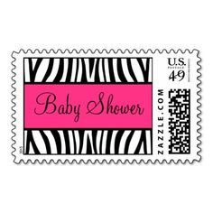 pink and black zebra baby shower postage