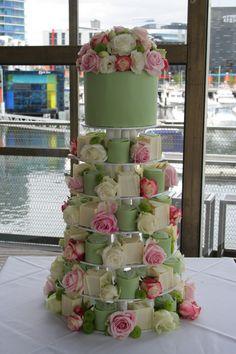Green & pink theme wedding cake