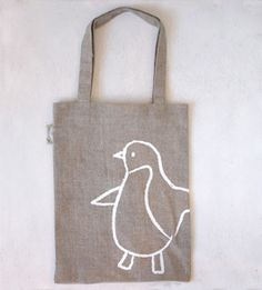 Linen penquin bag: so maybe you could do this yourself with the bleach-pen diy idea?