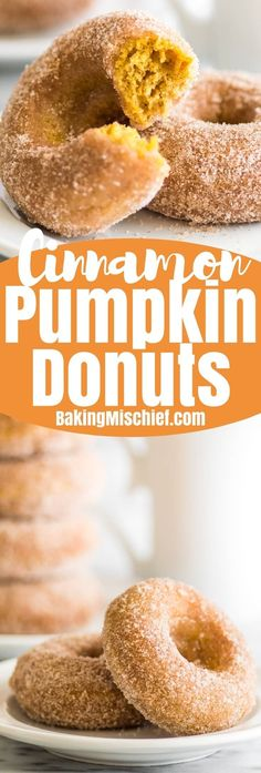 Soft and fluffy baked pumpkin donuts tossed in crunchy cinnamon sugar are the perfect sweet way to celebrate fall mornings. | #Fall | #Breakfast | #Donuts |