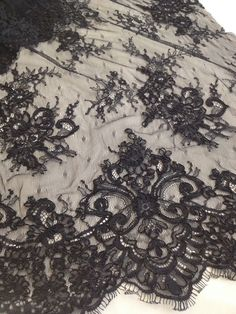 Ebroidered lace, chic dress lace, haute couture, black lace, Sanmartin, fabrics