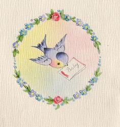 New Blue Bird Illustration Vintage Postcards 24 Ideas Vintage Greeting Cards, Vintage Postcards, Vintage Pictures, Vintage Images, Vintage Sweets, Old Cards, Bird Illustration, New Blue, Baby Cards