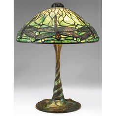 """Tiffany Studios, New York, Favrile Leaded Glass, Mosaic and Patinated Bronze """"Dragon Fly"""" Lamp."""