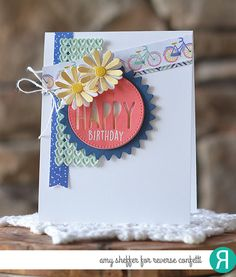 Card by Amy Sheffer. Reverse Confetti stamp set: Whole Lotta Happy. Confetti Cuts: Pretty Panels HAPPY and Double Panel Hearts. Birthday Card.