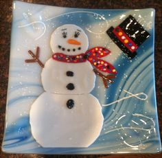 Merry Christmas! Snow Girl fused glass plate. :-)