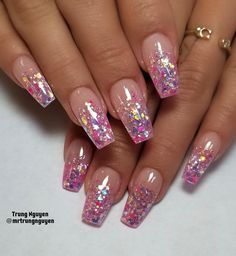 55 Alluring Glitter Nail Art Design Perfect For Every Occasion Acrylic Nail Designs Glitter, Ombre Nail Designs, Glitter Nail Art, Nail Art Designs, Nails Design, Acrylic Nails Coffin Pink, Nail Swag, Vegas Nails, Gel Nagel Design