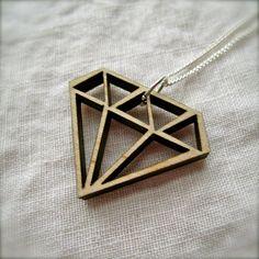 LaserCut Wood Diamond Necklace