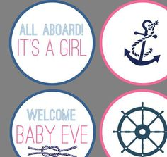 Personalized Nautical Navy, Blue, and Pink Girl Baby Shower Cupcake Toppers - http://babyshowercupcake-toppers.com/personalized-nautical-navy-blue-and-pink-girl-baby-shower-cupcake-toppers/
