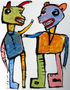 original HUGHART abstract outsider folk funky art lowbrow pop painting BY CHANCE #OutsiderArt