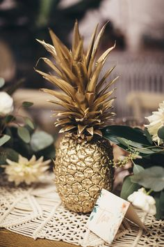 golden pineapple - tropical bohemian wedding decor by Le Jour du Oui @ The Love . - golden pineapple – tropical bohemian wedding decor by Le Jour du Oui @ The Love Affair - Tropical Wedding Decor, Bohemian Wedding Decorations, Tropical Home Decor, Tropical Interior, Tropical Party, Tropical Houses, Reception Decorations, Wedding Centerpieces, Tropical Colors