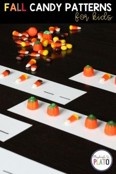Patterns help kids learn how to make connections, predict more accurately, notice similarities, and learn sequencing – skills they'll use for reading, writing and math later. This quick prep activity adds some fun by using colorful fall candy. Grab a bag at the dollar store and you're ready to play. This is a great Fall themed activity for Pre-K or Kindergarten. #fallactivities
