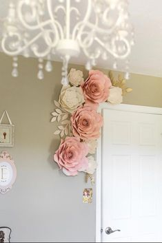 paper flower tutorial Hand crafted blush paper flower wall decor for any room or occasion including nursery, baby shower, party, or special occasion. Set of 9 paper flowers with White Paper Flowers, Paper Flower Wall, Paper Flower Backdrop, Flower Wall Decor, Diy Flowers, Flower Decorations, Wall Flowers, Kids Wall Decor, Nursery Decor