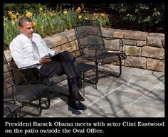 """""""eastwooding"""" President Obama style  : president Obama meets with actor Clint Eastwood on the patio outside the Oval Office"""