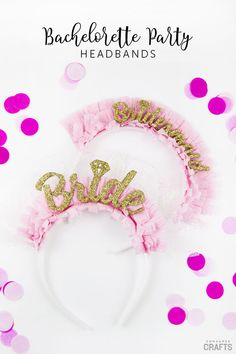 Bachelorette DIY: Party Headbands - Consumer Crafts Do you have a bachelorette party coming up? Make these fun and festive bachelorette DIY headbands with this tutorial and free templates! Bachelorette Party Decorations, Diy Party Decorations, Wedding Crafts, Diy Wedding, Diy Headband, Headbands, Bridal Shower Centerpieces, Diy Bouquet, Bridal Gifts
