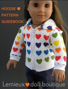 Pixie Faire Lemieux hoodie Doll Clothes Pattern Designed to Fit Dolls such as American Girl® - PDF Lemieux hoodie Doll Clothes Pattern for 18 inch American Girl Dolls - PDF American Girl Outfits, Ropa American Girl, American Doll Clothes, American Girl Crafts, Sewing Doll Clothes, Girl Doll Clothes, Doll Clothes Patterns, Clothing Patterns, Girl Dolls