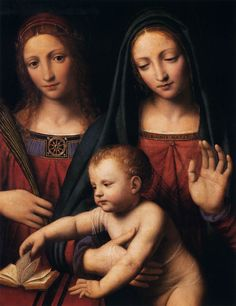 Bernardino Luini ~ Madonna and Child with Saints Catherine and Barbara (detail), c.1522-25