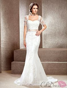 Trumpet / Mermaid Square Neckline Chapel Train Lace Wedding Dress