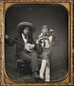 Unknown Traveling Minstrels – banjo and bones c. 1850 Daguerreotype, sixth plate Plate: 3 1/4 x 2 3/4 inches (8.26 x 6.99 cm) Case: 3 3/4 x 3 3/8 x 5/8 inches (9.53 x 8.59 x 1.6 cm) Gift of the Hall Family Foundation © Nelson Gallery Foundation