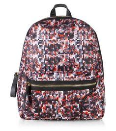 Orange Abstract Print Zip Front Backpack