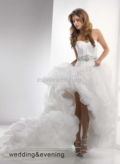 Best selling Strapless ball gown Chapel train Organza Pleated Corset Crystal hi-lo Wedding dresses