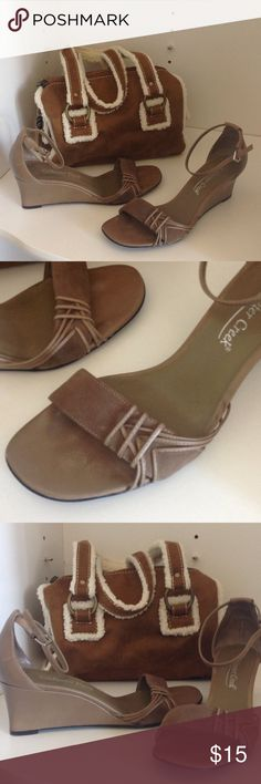 """Taupe Wedges Coldwater Creek suede & leather! Toe strap is suede.  2 1/2"""" heel, with ankle strap. Coldwater Creek Shoes Wedges"""