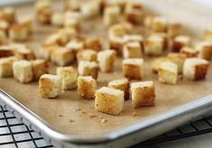 The Galley Gourmet: Homemade Croutons ~T~ I like to use garlic olive oil