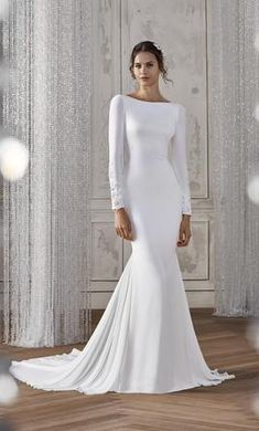 St Patrick Katiana wedding dress currently for sale at off retail. Plain Wedding Dress, Modest Wedding Dresses With Sleeves, Girls Lace Dress, Wedding Dresses For Girls, Long Sleeve Wedding, Bridal Dresses, Bella Swan Wedding Dress, Bateau Wedding Dress, Boat Neck Wedding Dress